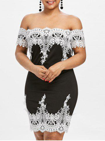 Firstgrabber Plus Size Off Shoulder Scalloped Dress