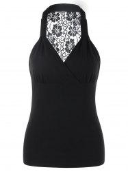 See Through Lace Panel Racerback Tank Top -
