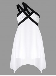 Plus Size Contrast Trim One Shoulder Dress -