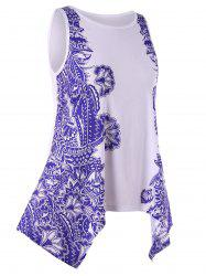 Plus Size Printed Asymmetrical Tunic Tank Top -