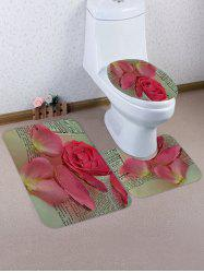 Flower Petals Pattern 3 Pcs Toilet Mat Set -
