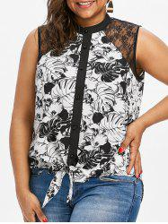 Lace Insert Plus Size Sleeveless Blouse -