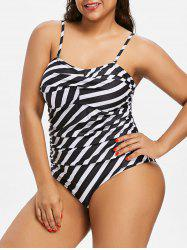 Plus Size Striped Twisted Swimsuit -