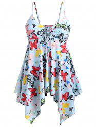 Plus Size Butterfly Handkerchief Tankini Set -