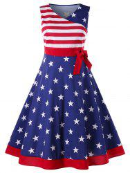 Plus Size American Flag Tea Length Dress -