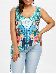Asymmetrical Parrot and Floral Print Tank Top -