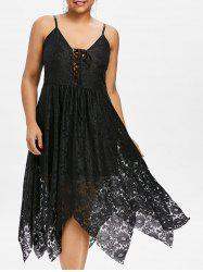 Plus Size Lace Handkerchief Dress -