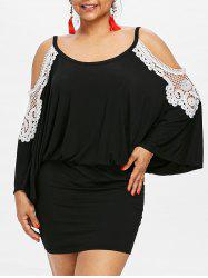 Plus Size Cold Shoulder Blouson Dress -