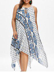 Paisley Print Plus Size Handkerchief Dress -