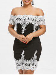 Plus Size Off Shoulder Scalloped Dress -