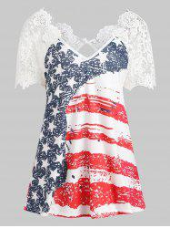 American Flag Lace Insert T-shirt -