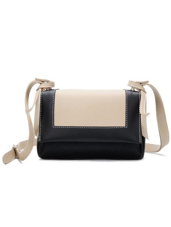 Cheap Color Block PU Leather Crossbody Bag
