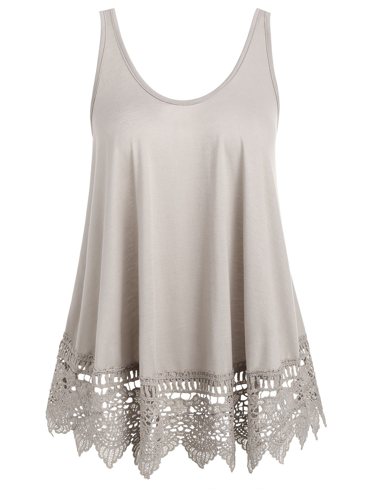 Outfits Lace Panel U Neck Tank Top