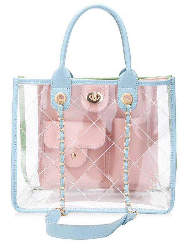 Shop Jelly Candy Transparent Multi Pocket Chain Crossbody Bag