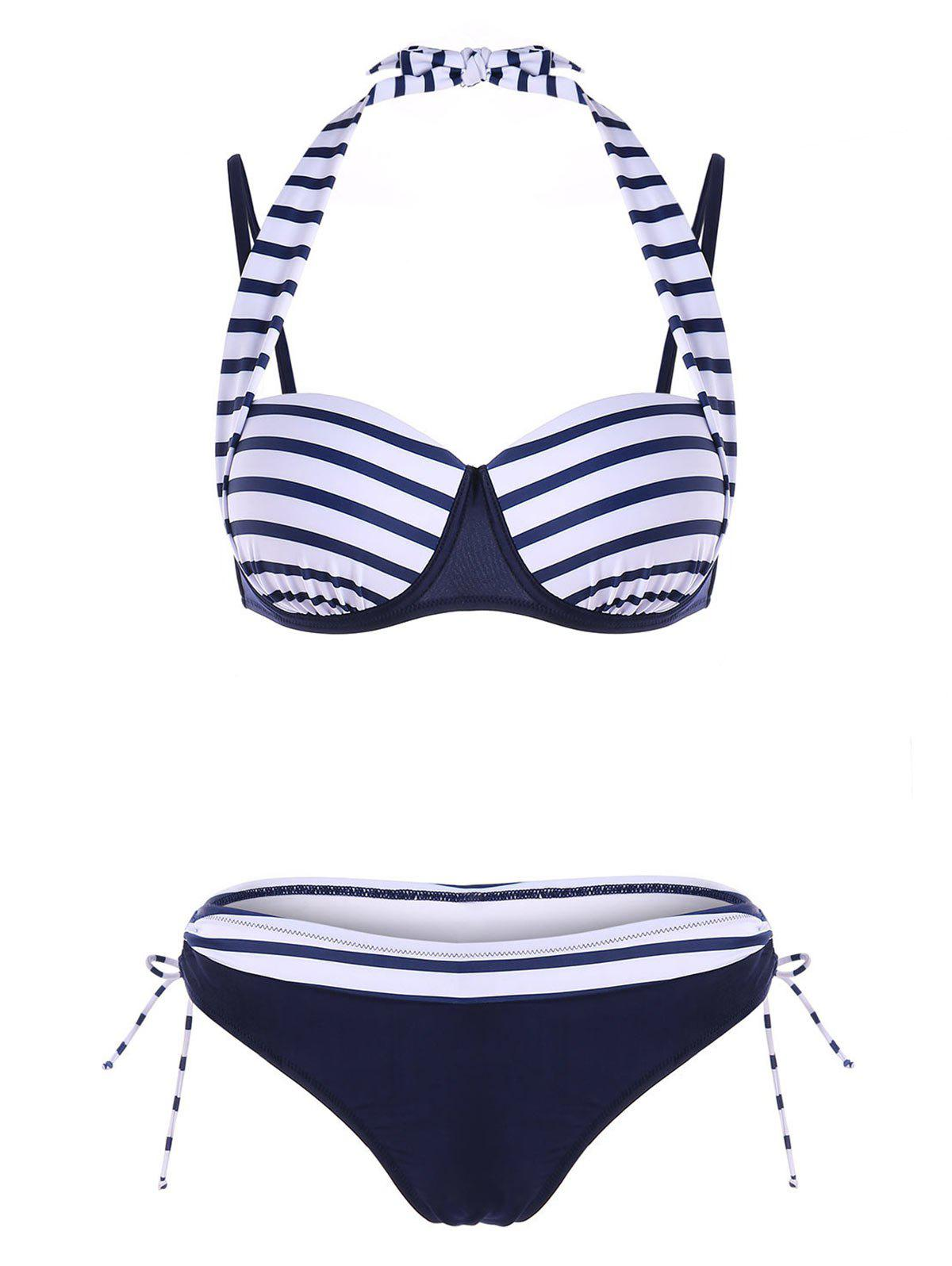 Trendy Self-tie Push Up Bikini Swimsuit
