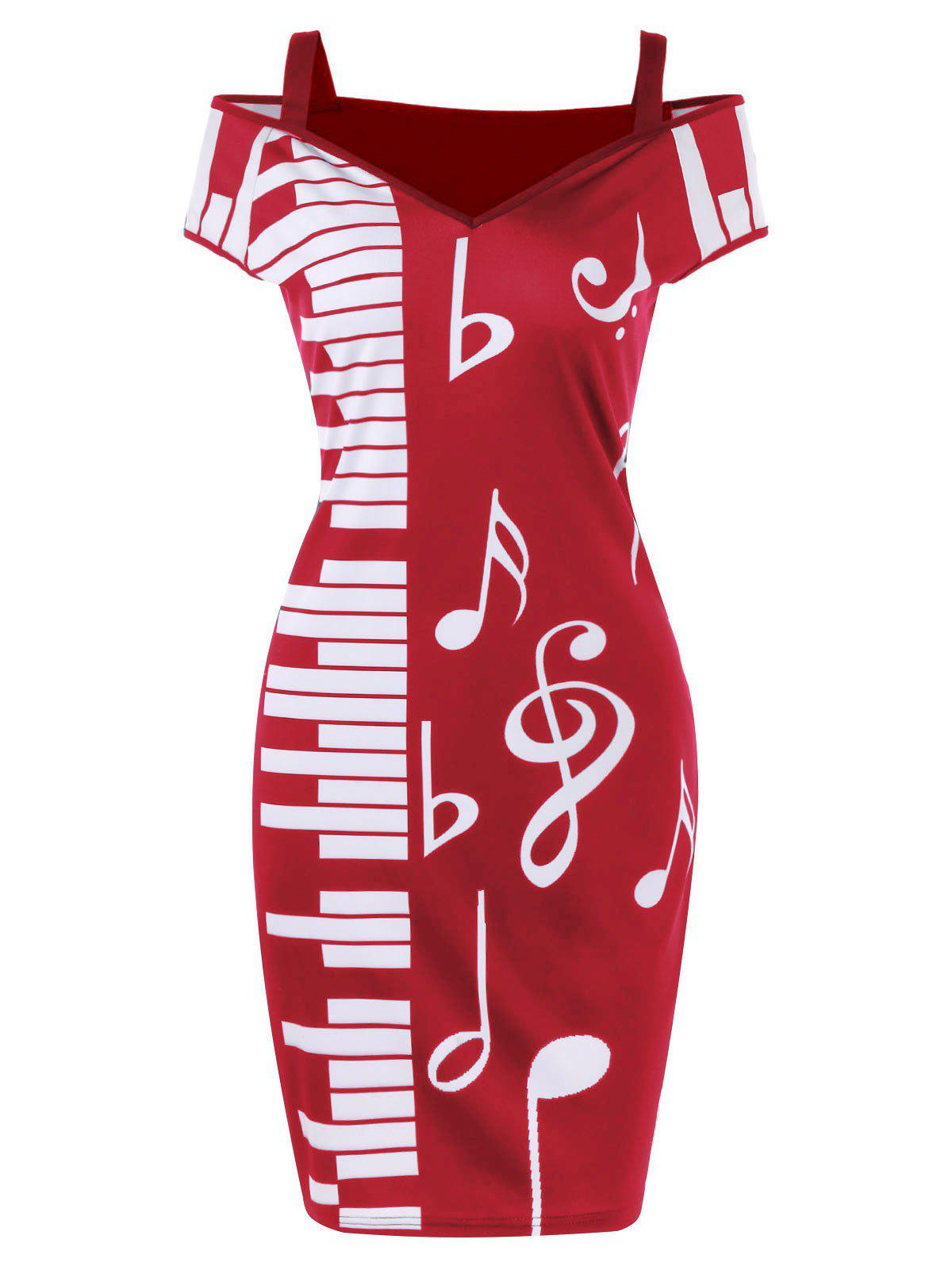 Online Cold Shoulder Notes Piano Print Party Dress
