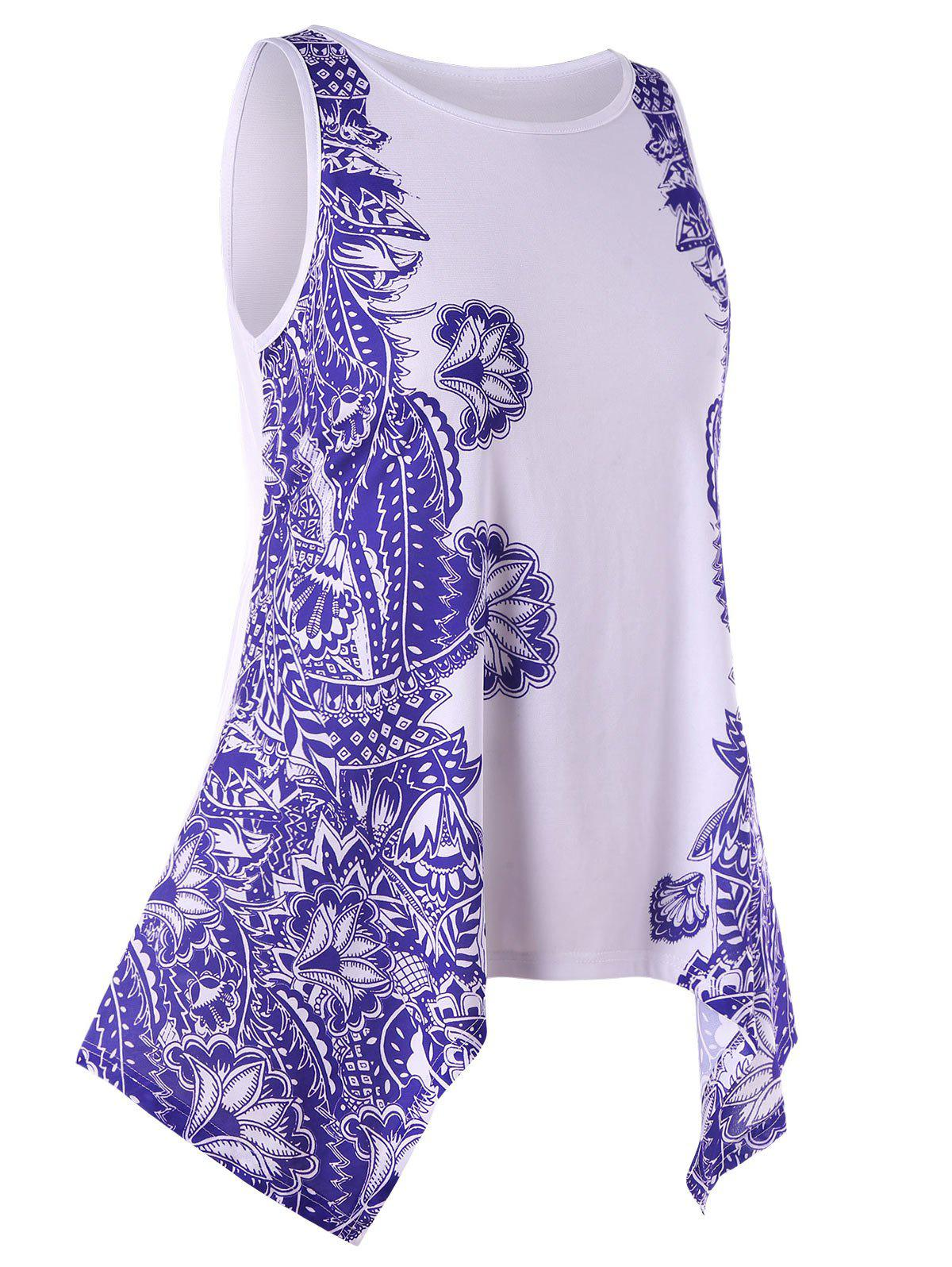 Hot Plus Size Printed Asymmetrical Tunic Tank Top