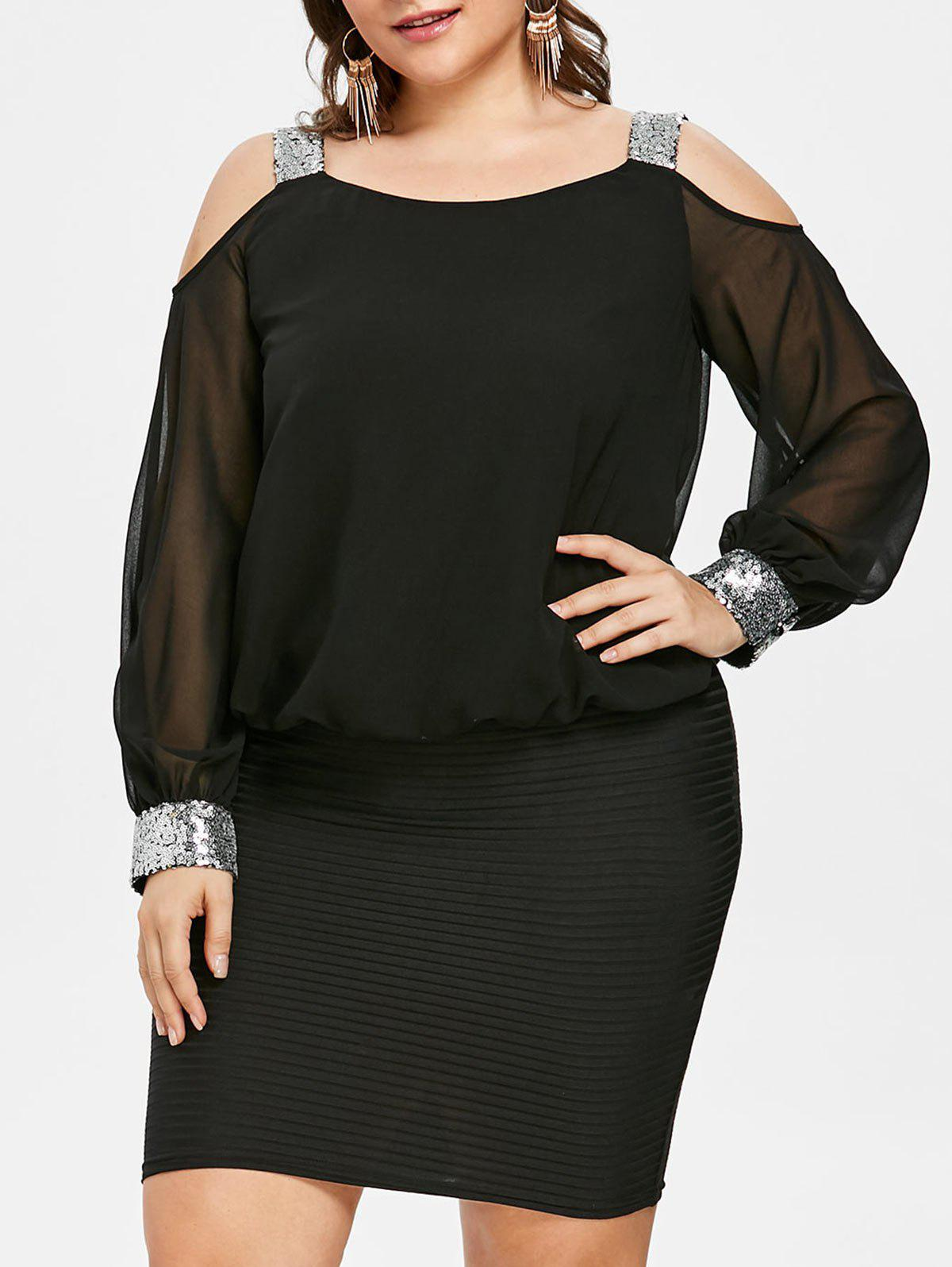 Plus Size Sequins Open Shoulder Blouson Dress