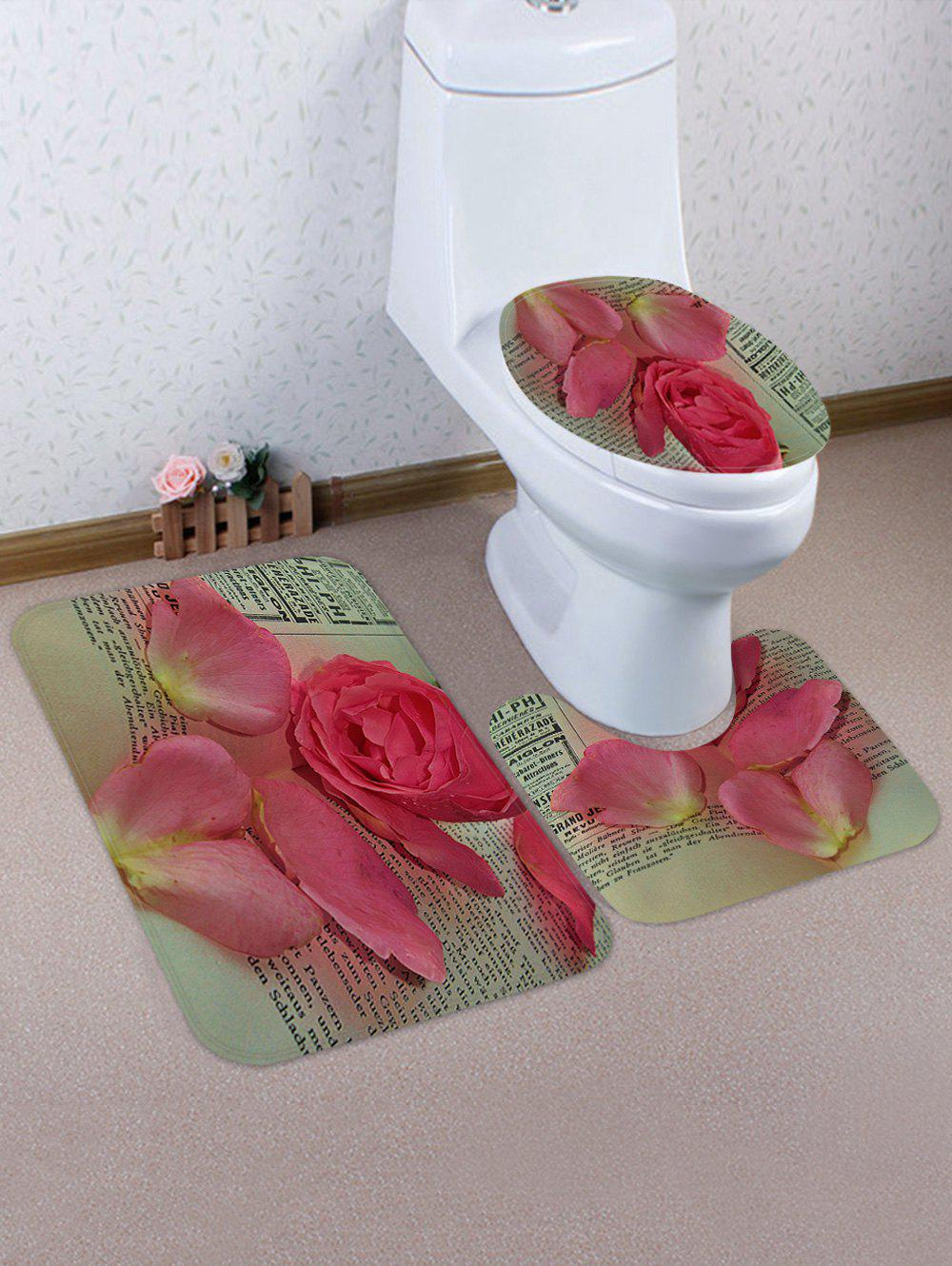 Shops Flower Petals Pattern 3 Pcs Toilet Mat Set