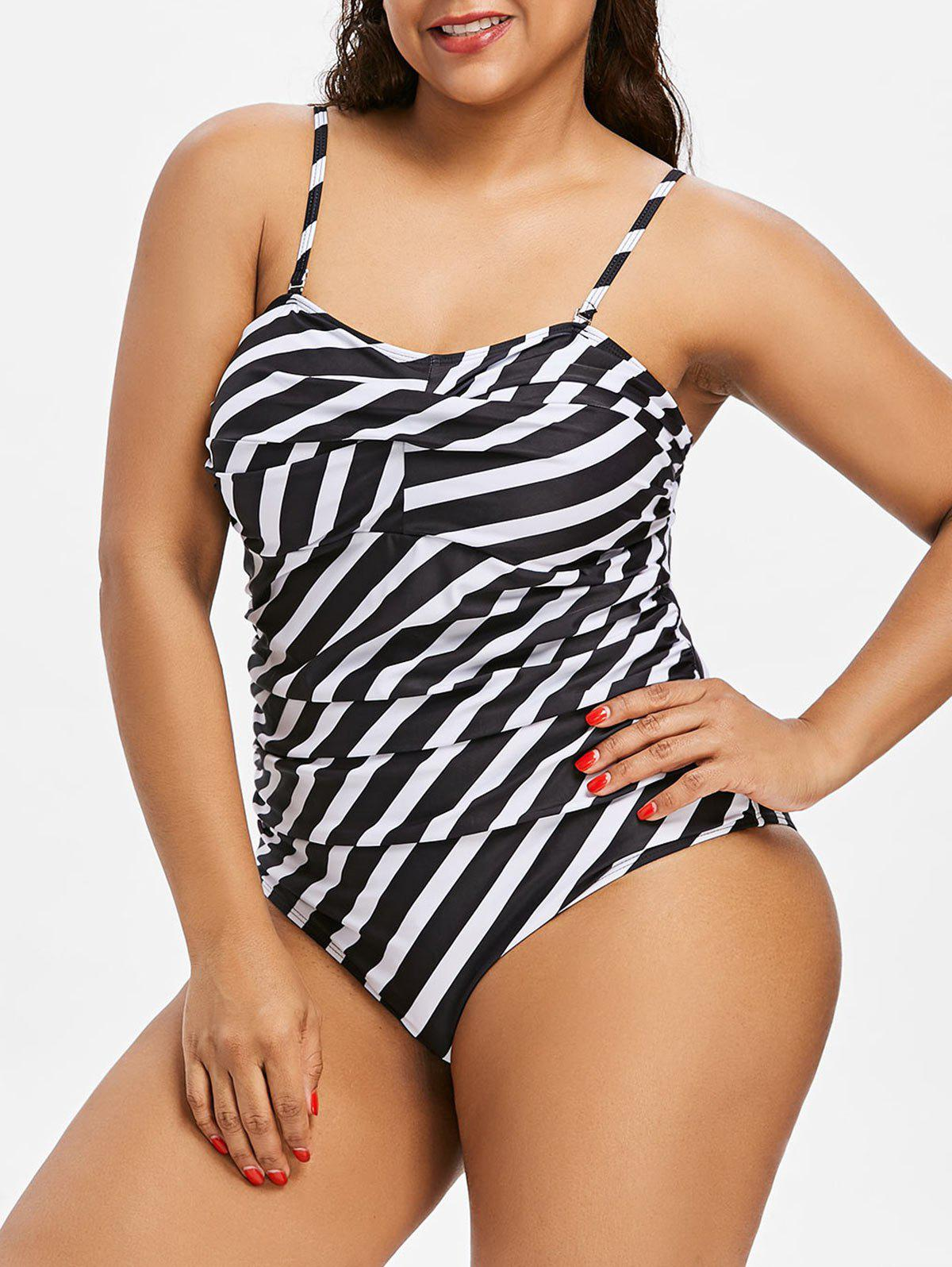 Chic Plus Size Striped Twisted Swimsuit
