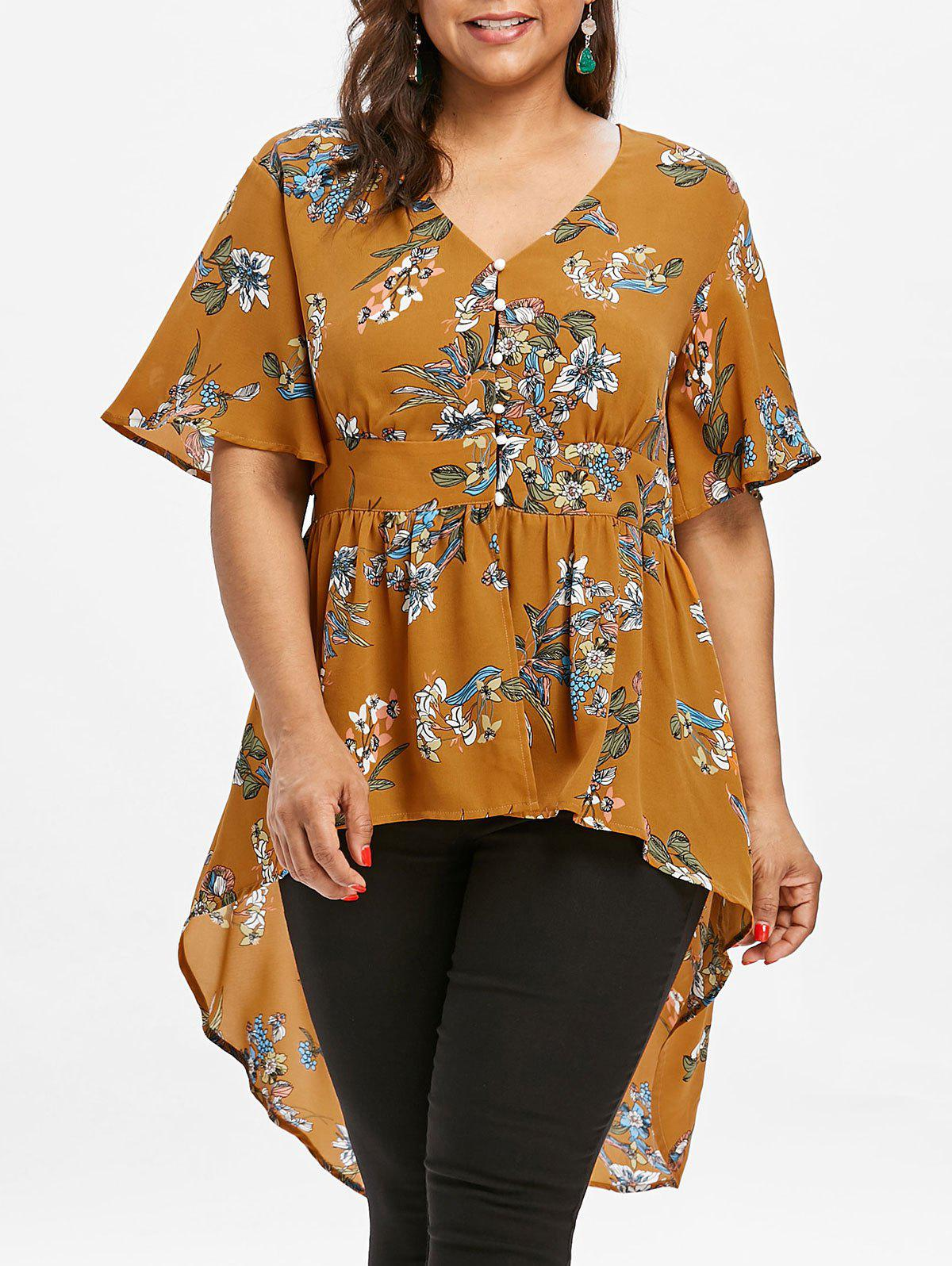 Cheap Plus Size Tropical Floral High Low Hem Blouse