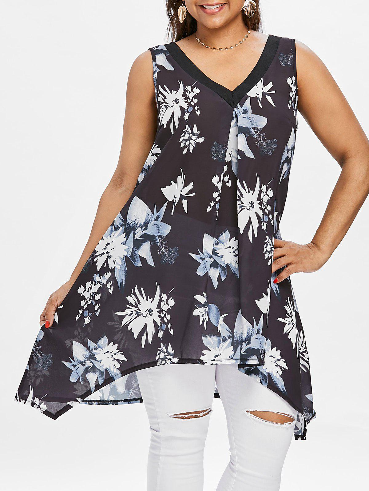 New Plus Size Floral Sleeveless Blouse