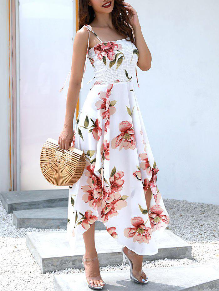 Latest Floral Print Spaghetti Strap Asymmetrical Dress