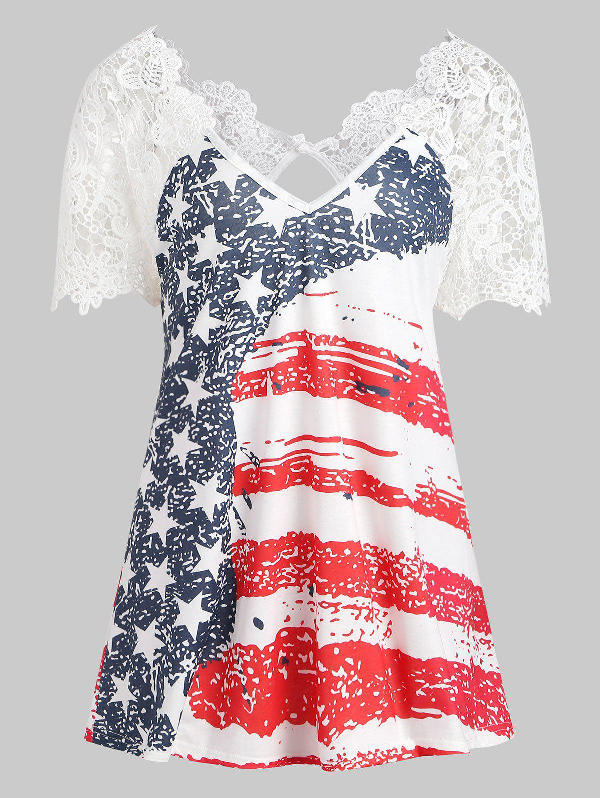 Unique American Flag Lace Insert T-shirt