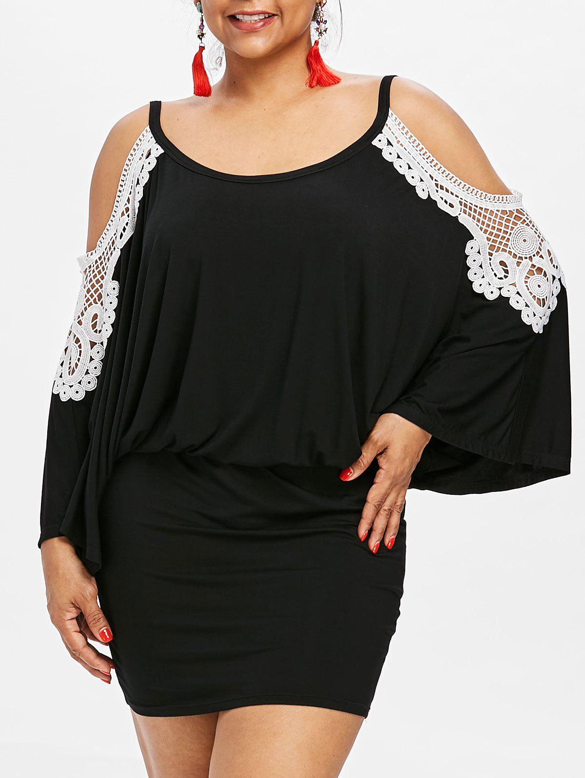 Sale Plus Size Cold Shoulder Blouson Dress