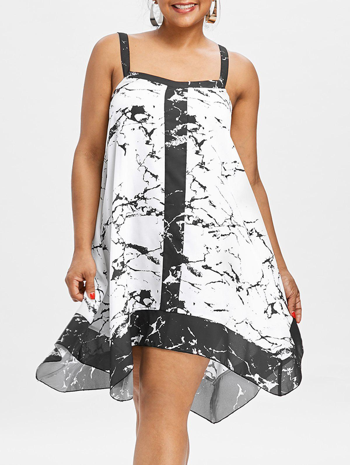 Discount Plus Size Sleeveless Marble Print Dress