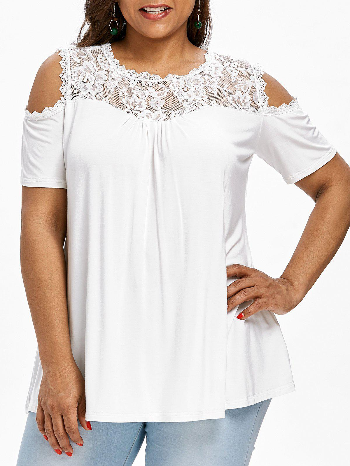 0150b912a35 64% OFF   2018 Lace Panel Plus Size Short Sleeve T-shirt In White ...