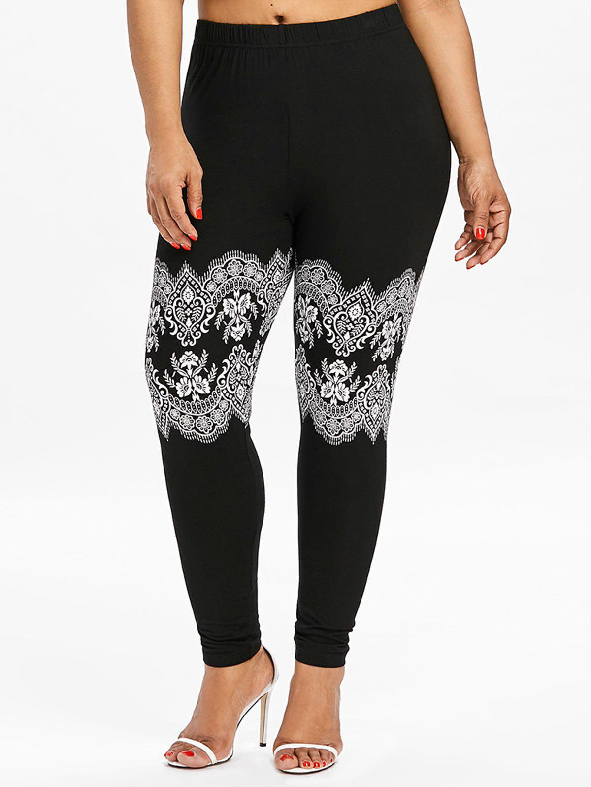 Outfit Plus Size Lace Print High Waist Leggings
