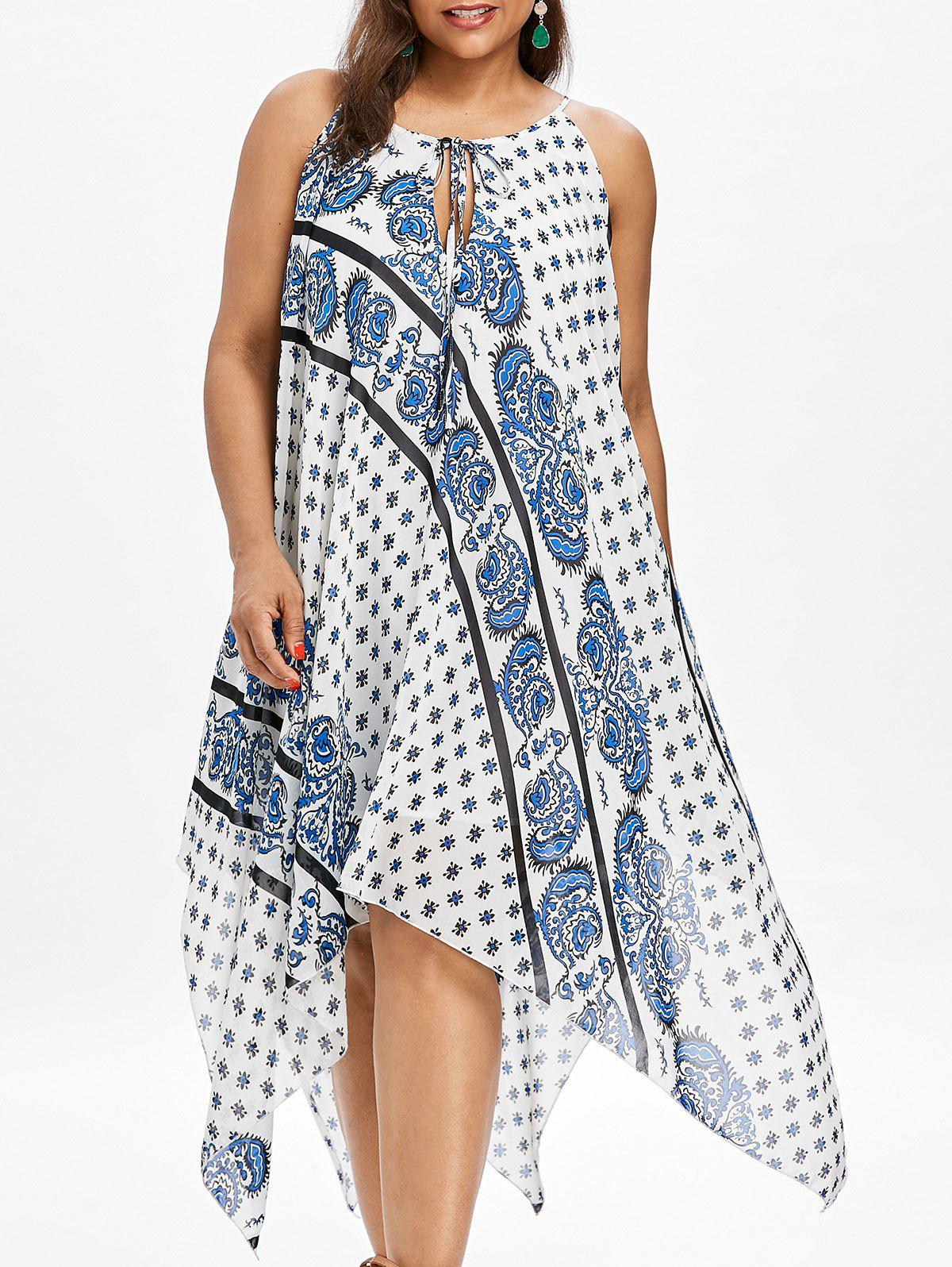 Buy Paisley Print Plus Size Handkerchief Dress