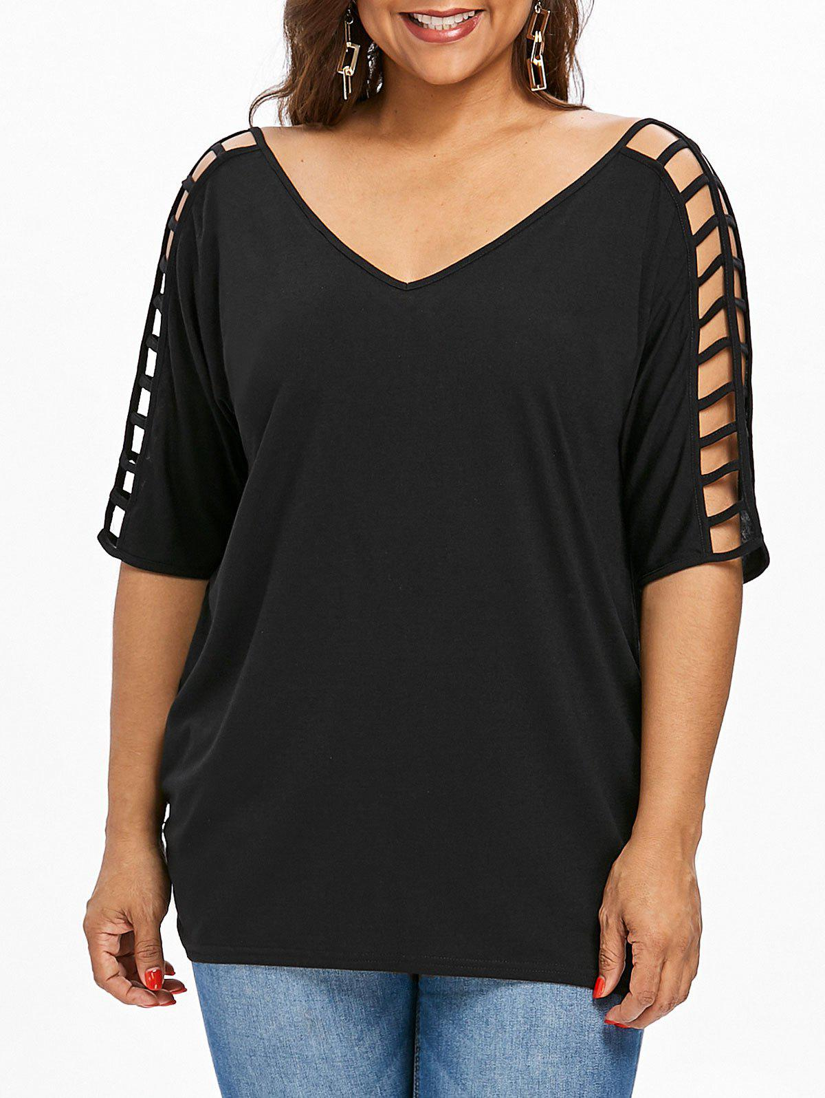 Shop V Neck Cut Out Plus Size Tunic Tee