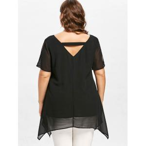 Plus Size Cat Face Chiffon Blouse -