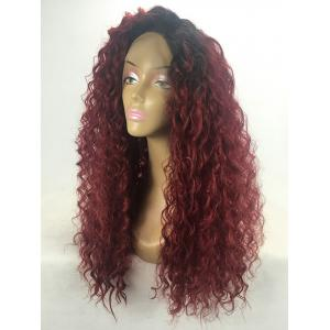 Long Side Bang Curly Wave Ombre Lace Front Synthetic Wig -
