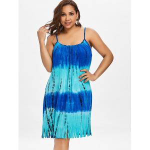 Plus Size Tie Dye Fringed Dress -