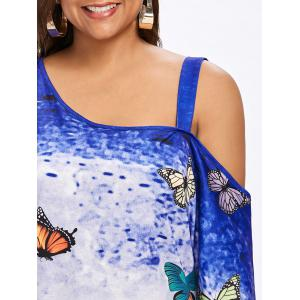 Plus Size Butterfly Print Skew Neck T-shirt -