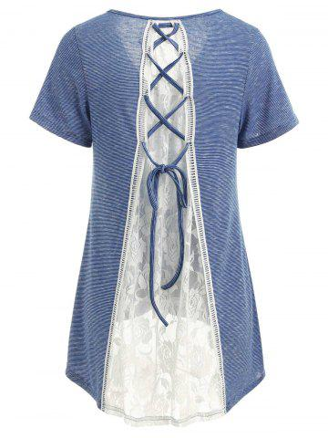 Chic Criss Cross Lace Back Striped T-shirt