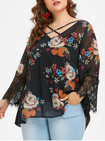 Discount Plus Size Floral Chiffon Blouse and Slip Top