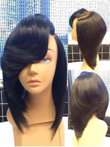 Chic Medium Oblique Bang Straight Inverted Bob Synthetic Wig