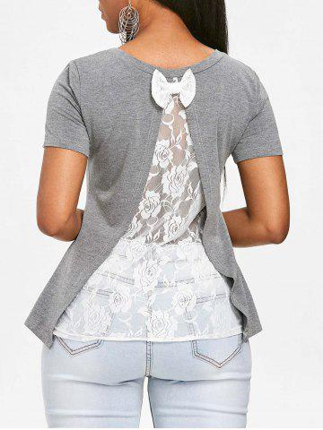 New See Through Rose Lace Back T-shirt