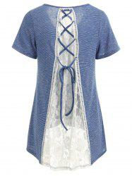 Criss Cross Lace Back Striped T-shirt -