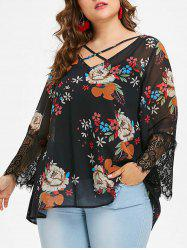 Plus Size Floral Chiffon Blouse and Slip Top -