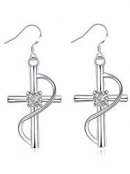 Rhinestone Alloy Crucifix Drop Earrings -