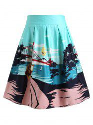 Bridge Landscape Print Skirt -