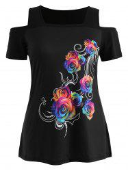 Plus Size Rose Cold Shoulder T-shirt -