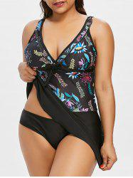Plus Size Flower Skirted Tankini Set -