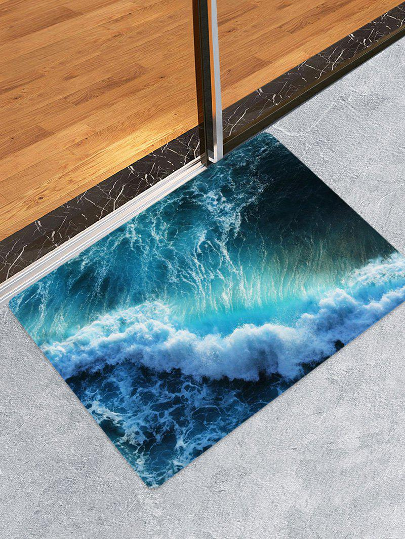 Trendy Sea Waves Print Flannel Floor Runner Rugs Mat