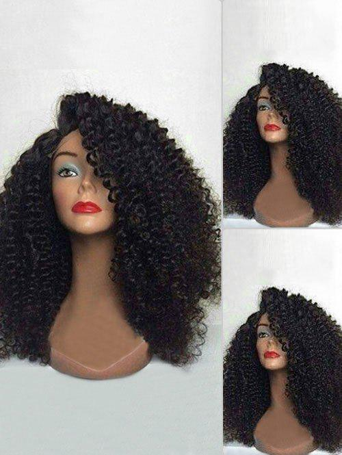 Cheap Long Side Bang Fluffy Curly Lace Front Synthetic Wig